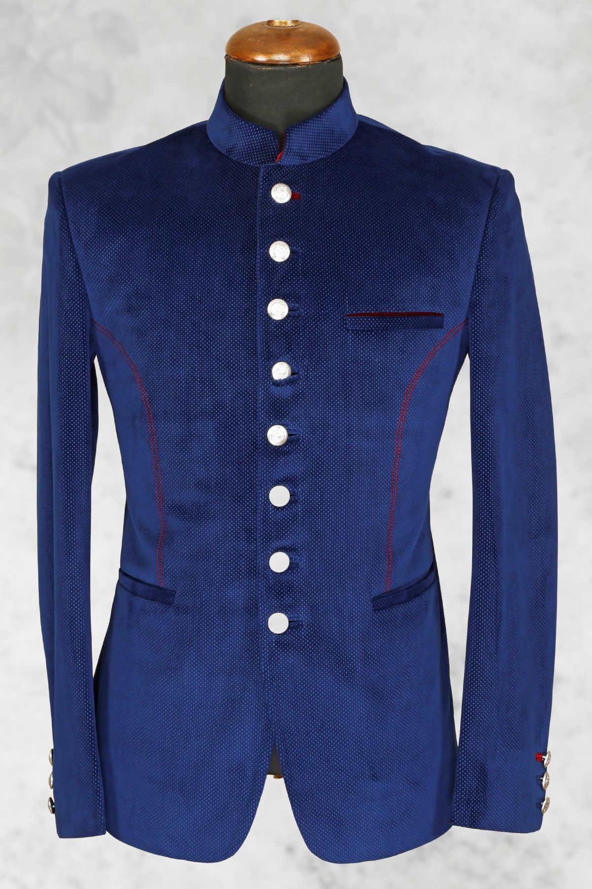 55dd518708 Royal #blue well dressed #italian suit with bandhgala collar-ST506 ...