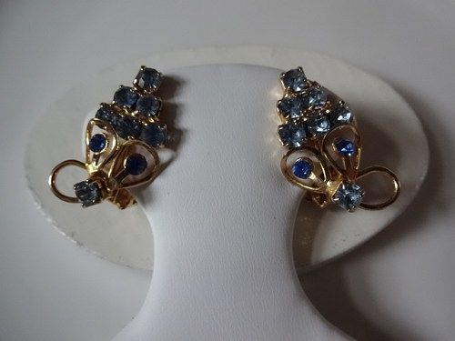 Vintage Gold Tone Blue Crystal Cluster Grape Clip Earrings.  Beautiful cluster of crystal grapes in two shade of blue set in gold tone metal. The scroll holds two shades of blue, perfect for a little