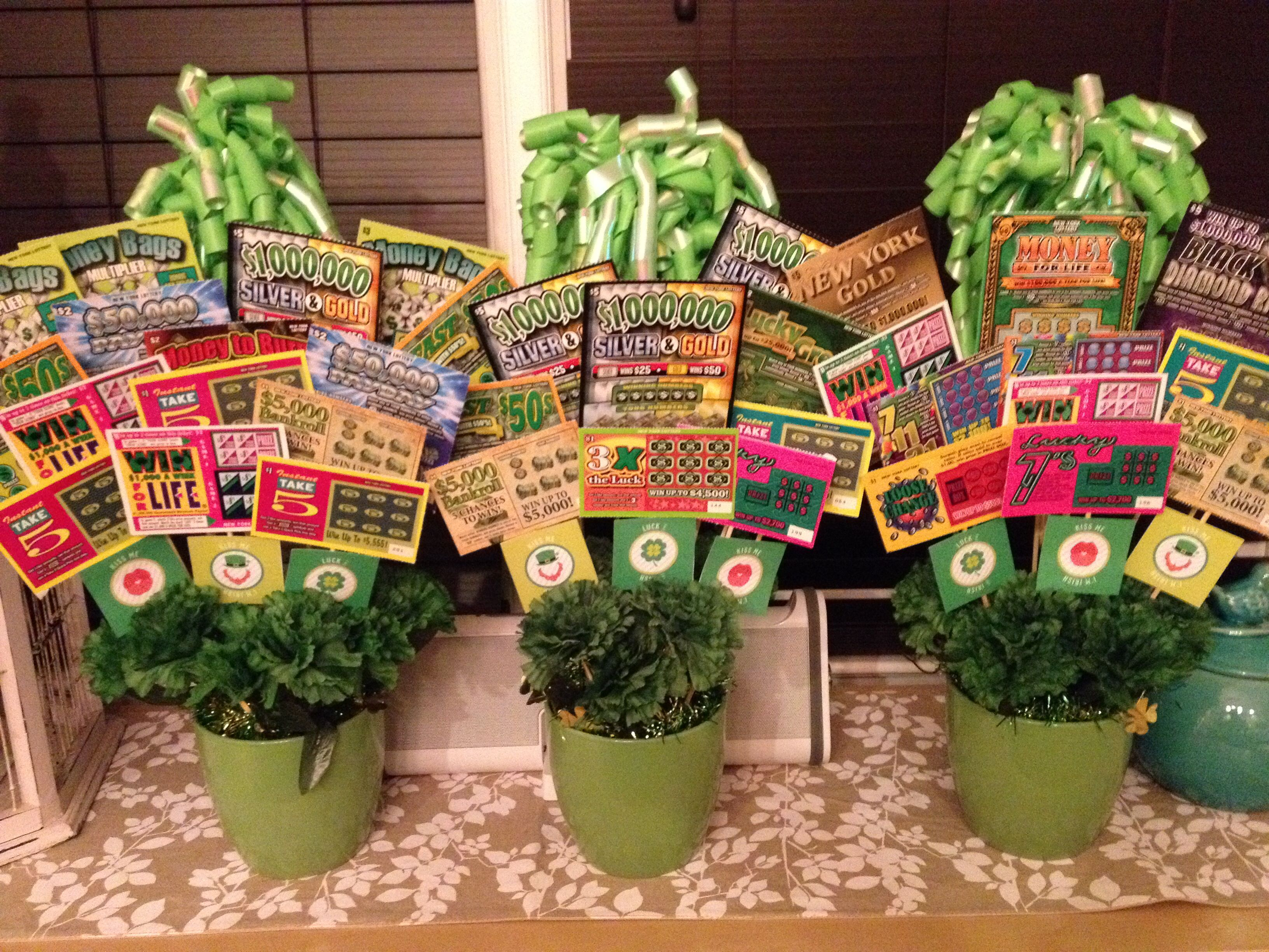 Lottery ticket bouquet made with dollar tree items pot