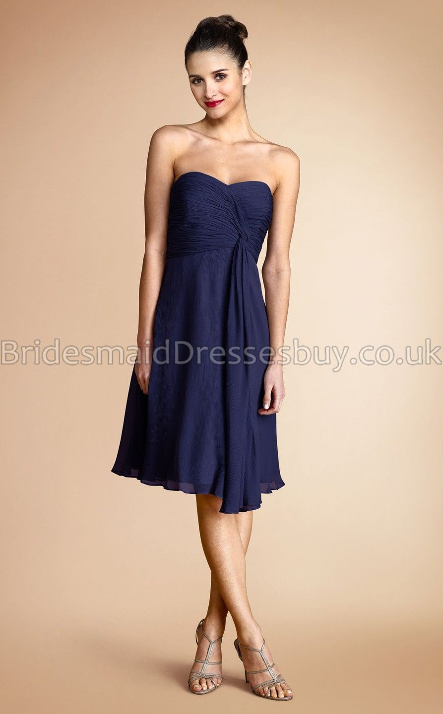A Line Sweetheart Navy Blue Chiffon Short Mini Bridesmaid DressesUKBD03 790