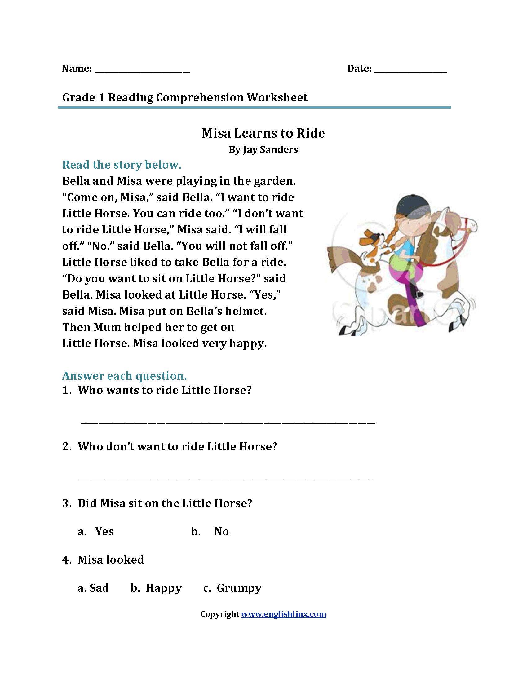 Misa Learns to Ride\u003cbr\u003eFirst Grade Reading Worksheets   Reading  comprehension worksheets [ 2200 x 1700 Pixel ]