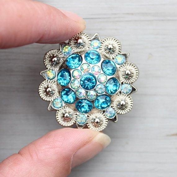 Crystal Drawer Knob with Turquoise and light blue Crystals (MK160-01 ...
