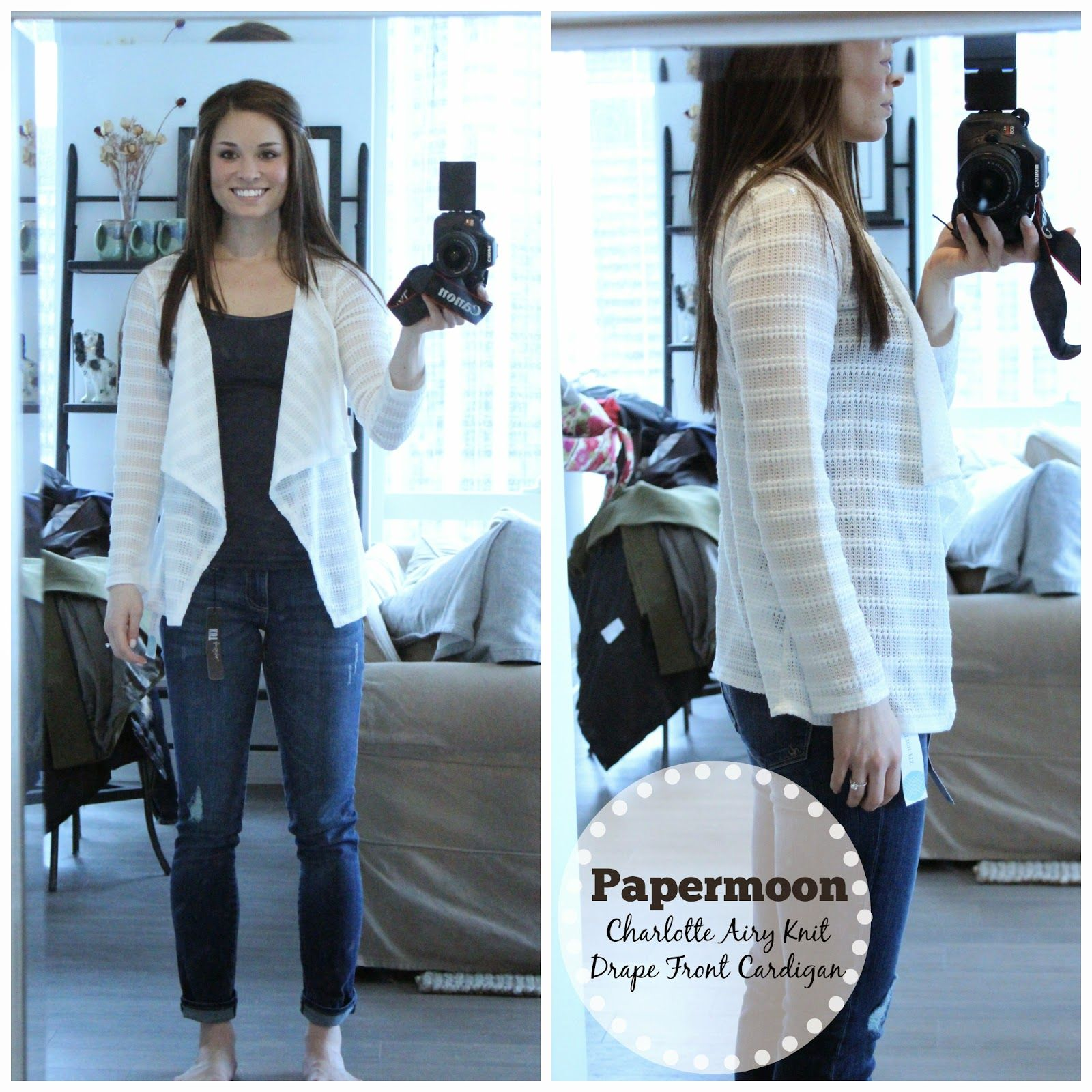 paper moon white cardigan. I like the draped front and light ...