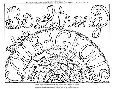 Coloring With Dwyanna Be Strong And Courageous Freebie