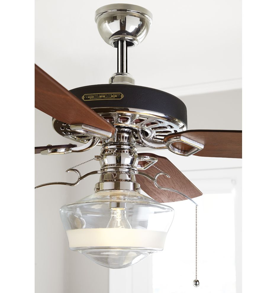 Heron Ceiling Fan With Ogee Schoolhouse Single Satin Stripe Shade Rejuvenation Ceiling Fan Ceiling Fan With Light 60 Ceiling Fan