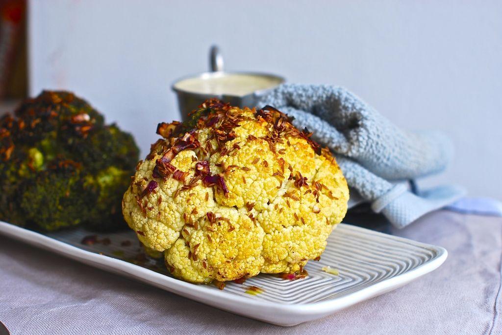 Honey and cumin glazed whole cauliflower and broccoli