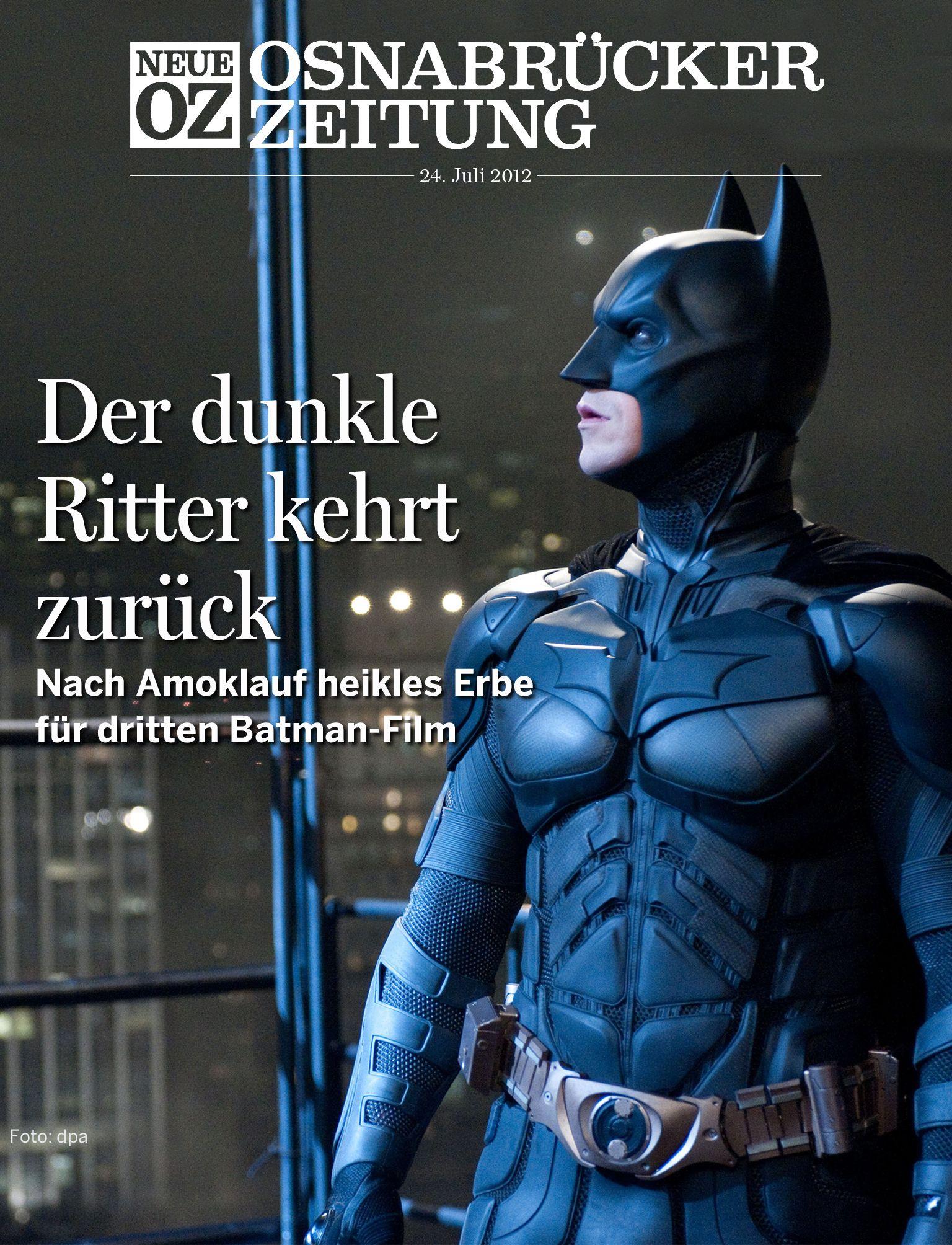 """Nach dem Amoklauf von Denver startet der """"The Dark Knight Rises"""" mit der schwersten Hypothek. Der Täter konnte den Film noch gar nicht gesehen haben – trotzdem steht das Werk im Zeichen seiner Tat. Unser Kritiker hat sich den neuen Batman-Film angesehen und schreibt darüber in der Titelgeschichte unserer iPad-Ausgabe vom 24. Juli 2012."""