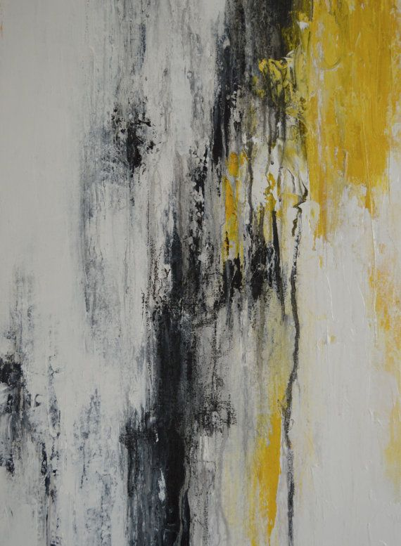 Abstract Yellow Black Gray White Abstract Art Painting