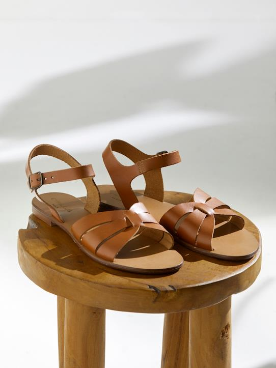 Sandales plates cuir tressé femme marine, Femme Vetement