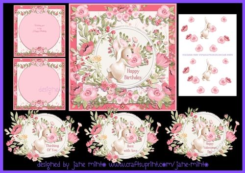 PACK 2 PINK ROSES MOTHERS DAY TOPPERS  FOR CARDS AND CRAFTS