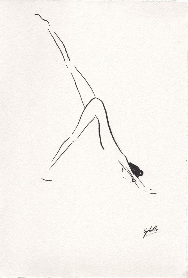 Down dog Yoga pose Drawing- Black Ink by Sybilleart on Etsy