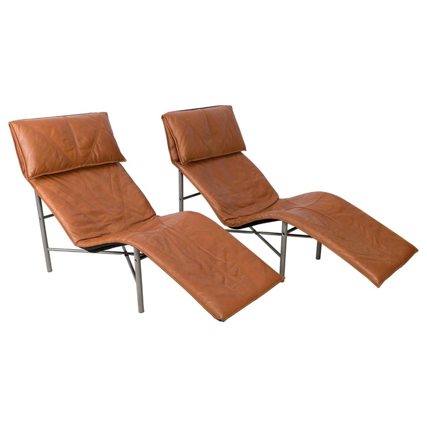 Two Midcentury Danish Modern Leather Chaise Lounge Chairs Tord