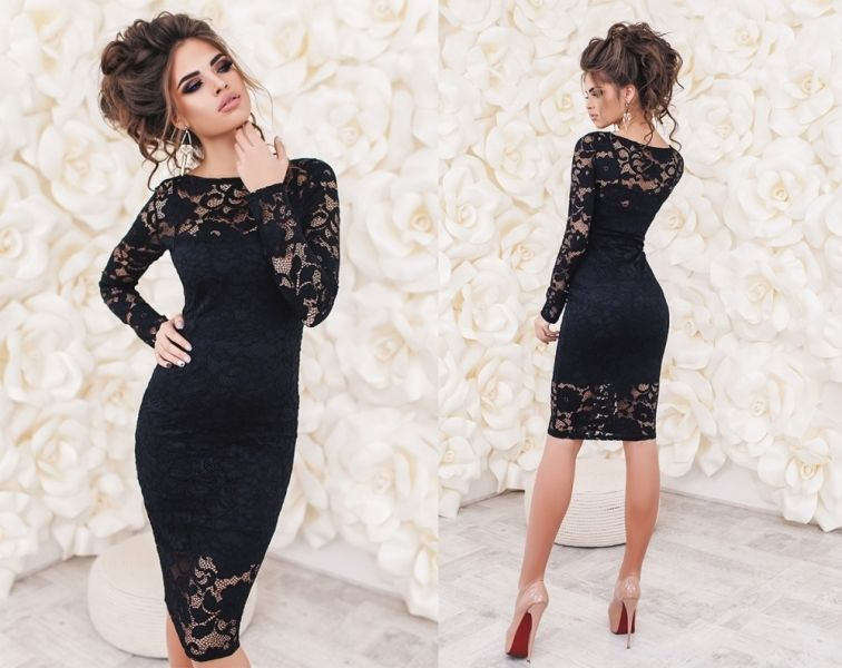 Платье гипюровое черное фото