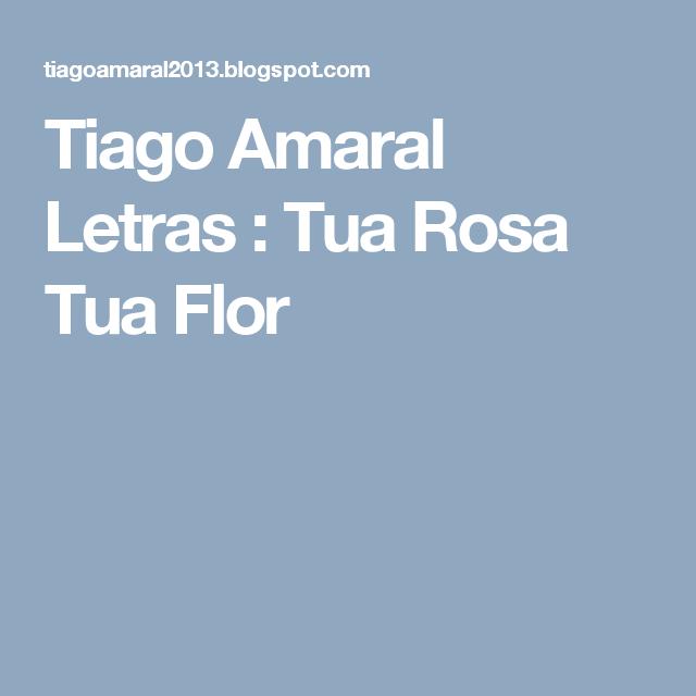 Tiago Amaral Letras : Tua Rosa Tua Flor