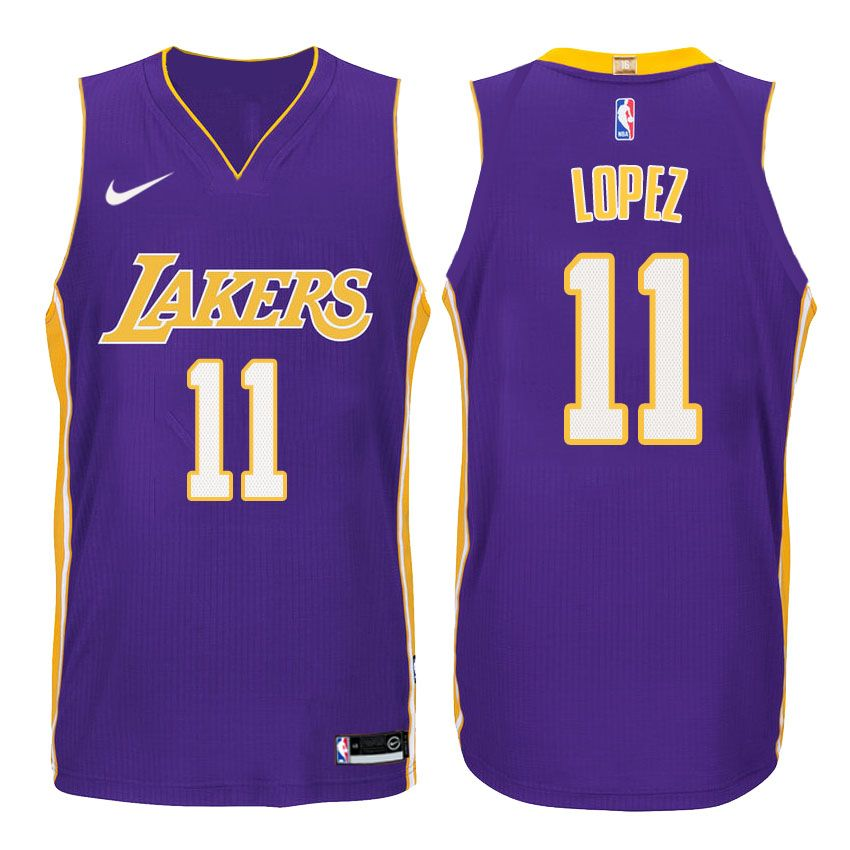 separation shoes a4c89 a77c5 Nike NBA Los Angeles Lakers #11 Brook Lopez Jersey 2017 18 ...