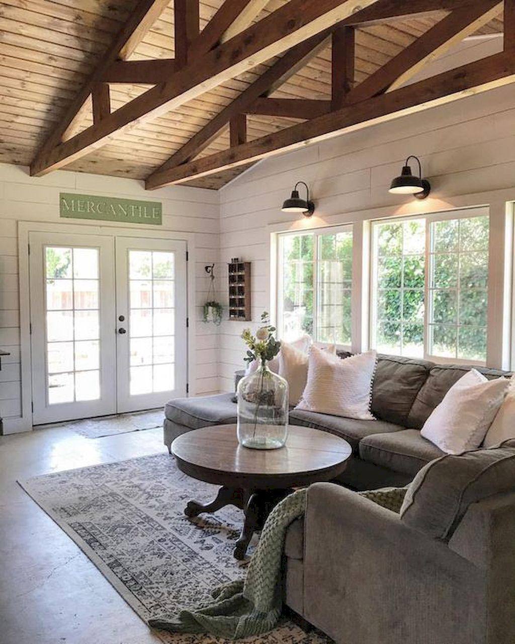 80 Modern Farmhouse Staircase Decor Ideas 64: 80 Cozy Rustic Farmhouse Living Room Remodel And Design