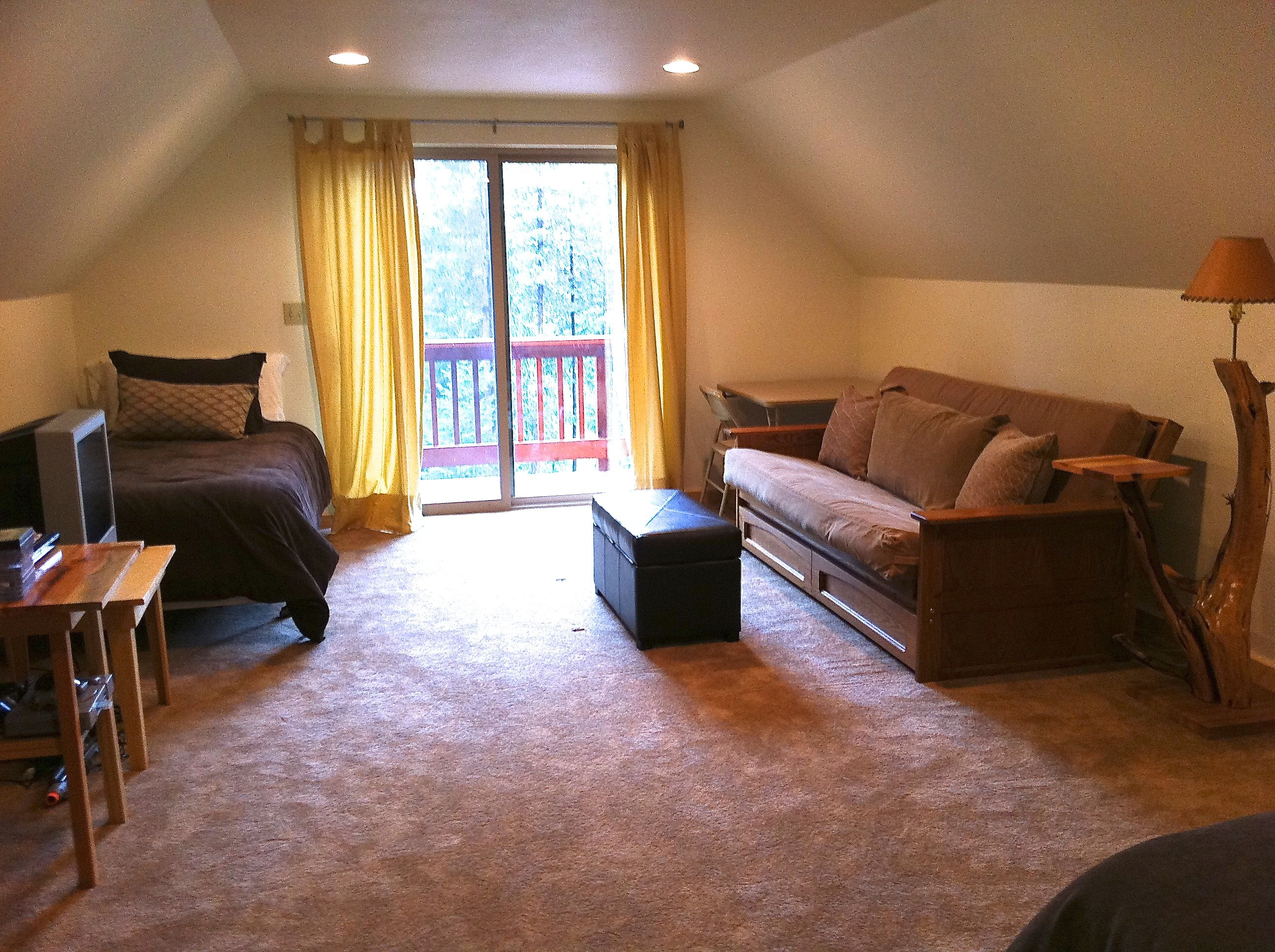 300 sq ft bonus room apt includes a king, twin, and futon dbl bed when flat. Not seen is the king bed, dresser and microwave, TV/DVD and table. Sit out on the deck and enjoy the wilderness setting and visiting birds.