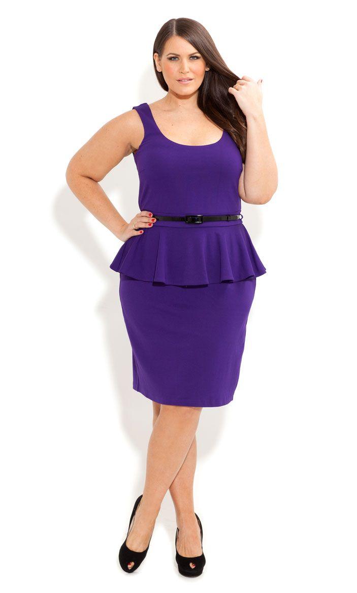 City Chic - SCOOP PONTE PEPLUM DRESS - Women\'s plus size fashion ...