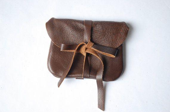 Cognac leather mini clutch by ArcOfADiver