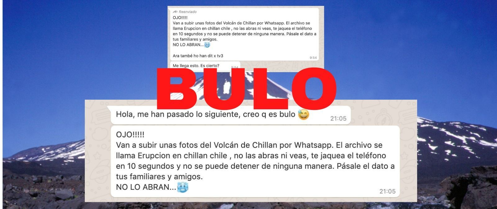 No, unas fotos del volcán Chillán de Chile no te hackean el teléfono en 10 segundos - Maldita.es