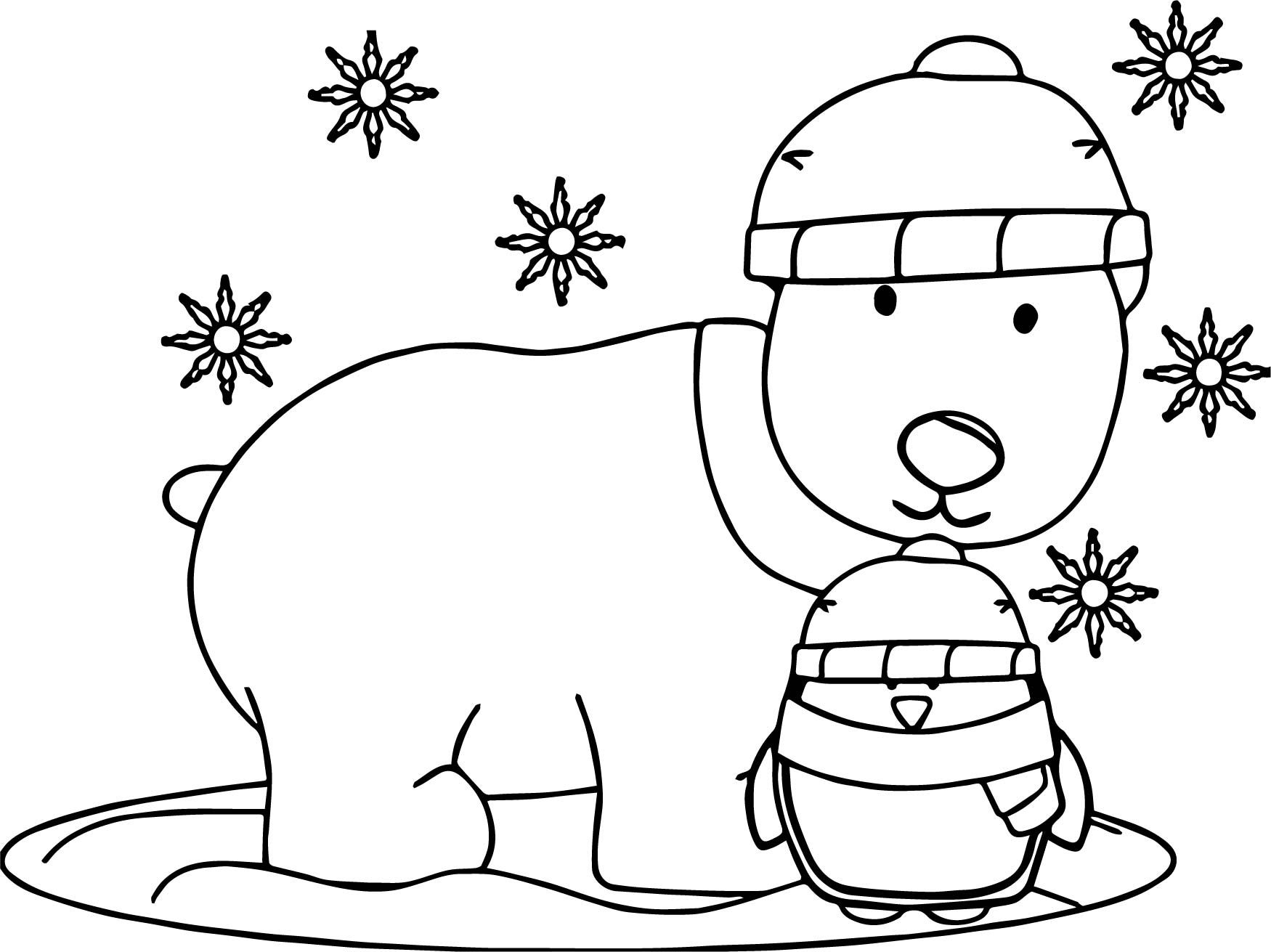 nice Winter Penguin And Dog Coloring Page Bear coloring