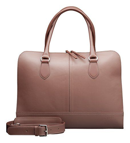 8d4148f733 SuB Womens 13 14 inch Professional Design Laptop Bag Genuine Leather Made  in Italy Brown