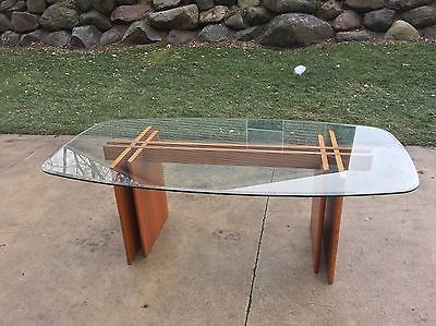 Mid Century Modern Danish Teak Fishbone Glass Top Dining Table