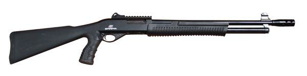 The SAR Pump Action Special Purpose Shotgun (SARPASP) has dual smooth reliable action bars, machined solid steel muzzle brake, cross trigger block safety, machined solid steel locking block and bolt,
