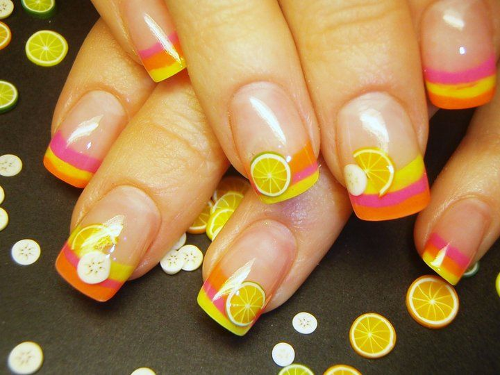"Citrus French Fimo Nail Art - I love the little ""citrus slices""."