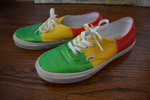 ad3fead3b2c77a Rasta Shoes Rasta Vans Custom Vans by LazyBunni on Etsy Bob Marley