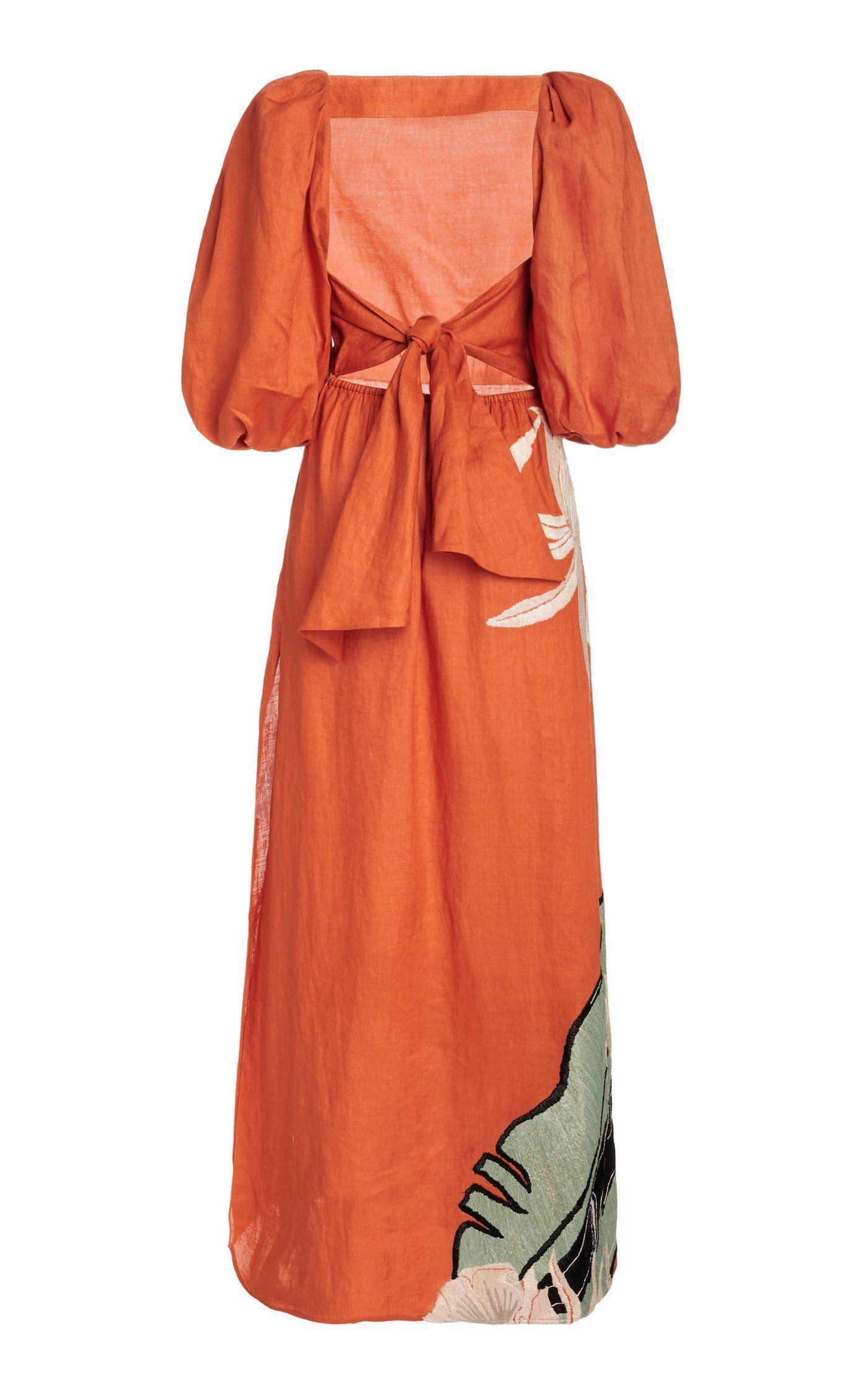 Horn Of African Embroidered Linen Dress