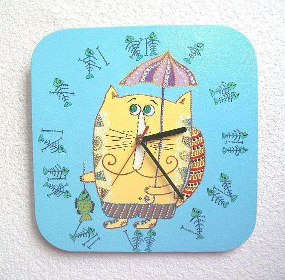 Kids Wall Clock Cat Wall Decor Naive Painting Blue Wall | Etsy ...