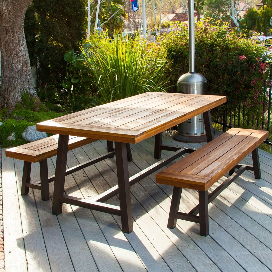 Best Ing Home Decor Carlisle 3 Piece Rustic Iron Sandblast Wood Acacia Patio Dining Set 298403