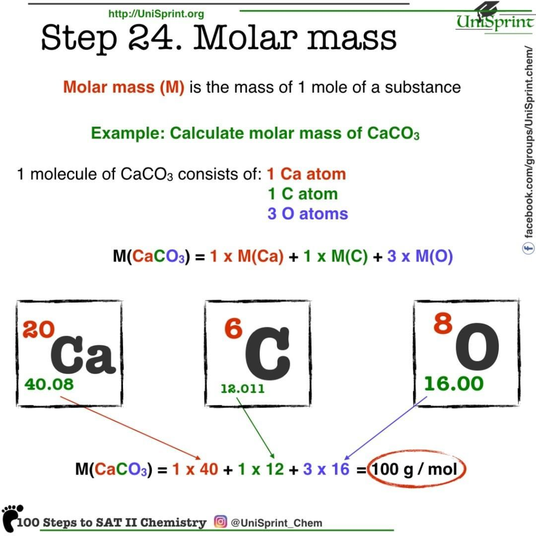 Step 24 Molar Mass 100 Steps To Sat Ii Chemistry From