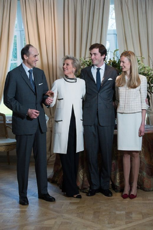 (L-R) Prince Lorenz, Princess Astrid of Belgium, Prince Amedeo and Elisabetta Rosboch von Wolkenstein, on the day of the engagement of Belgian Prince Amedeo (grandson of King Albert II) with Elisabetta Rosboch von Wolkenstein, in the Schonenberg residence in Brussels, 15 Feb 2014.