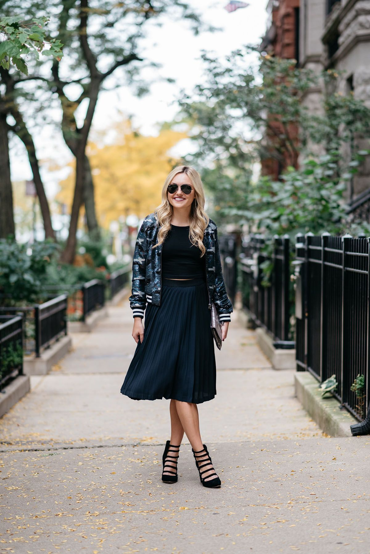 Bows & Sequins styling a sequin bomber jacket, crop top