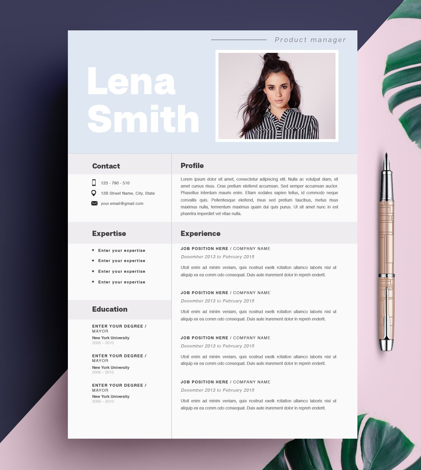 NEW Creative Resume Template, CV Template, Instant