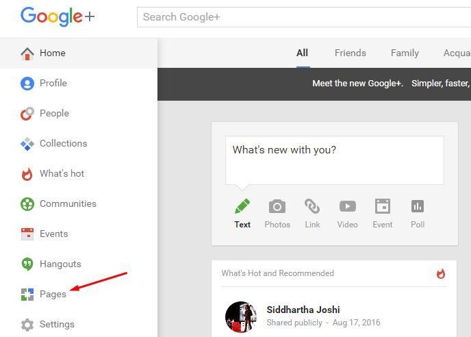 dashboard of google+
