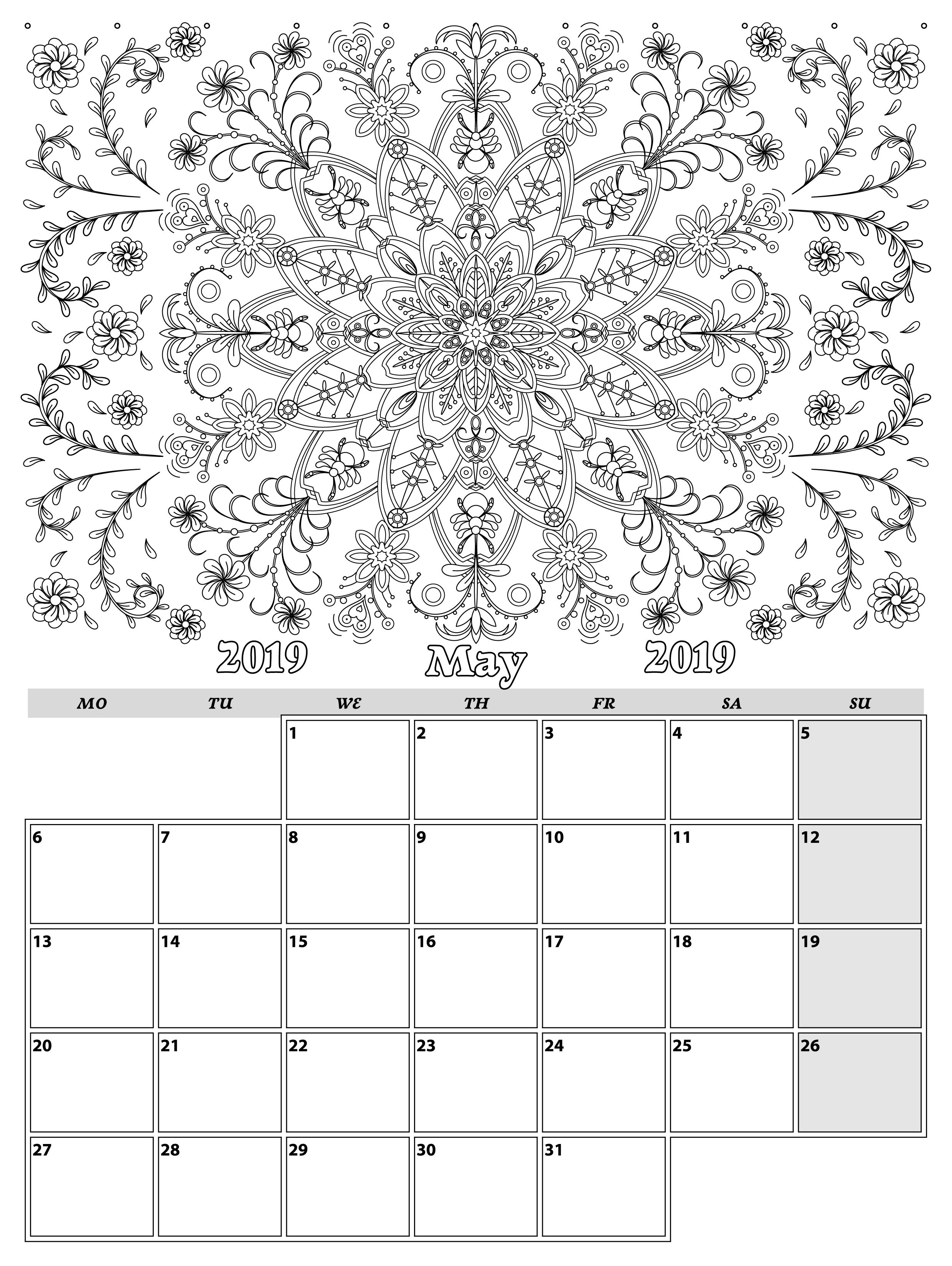 May Monthly Planner 2019 In Doodle Style For Relax And Plan Vector