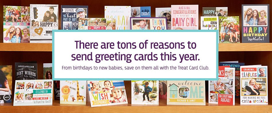 The treat card club sends thank yous for you new baby