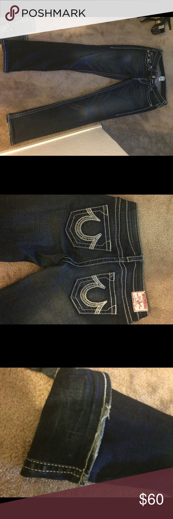 True religion jeans True religion jeans with white stitching. The bottom is a little torn up from dragging but other than that they are in good condition True Religion Jeans Boot Cut