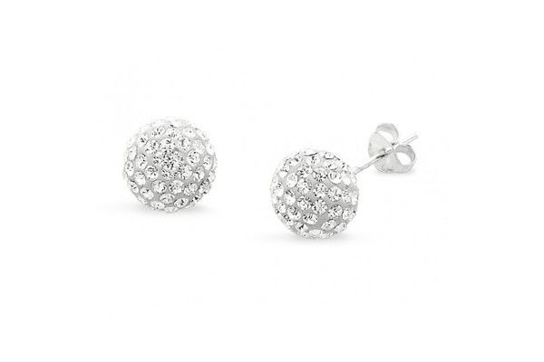 Sterling Silver Crystal Ball Earring    Sterling Silver Crystal Ball Earring  Starting at    95% OFF
