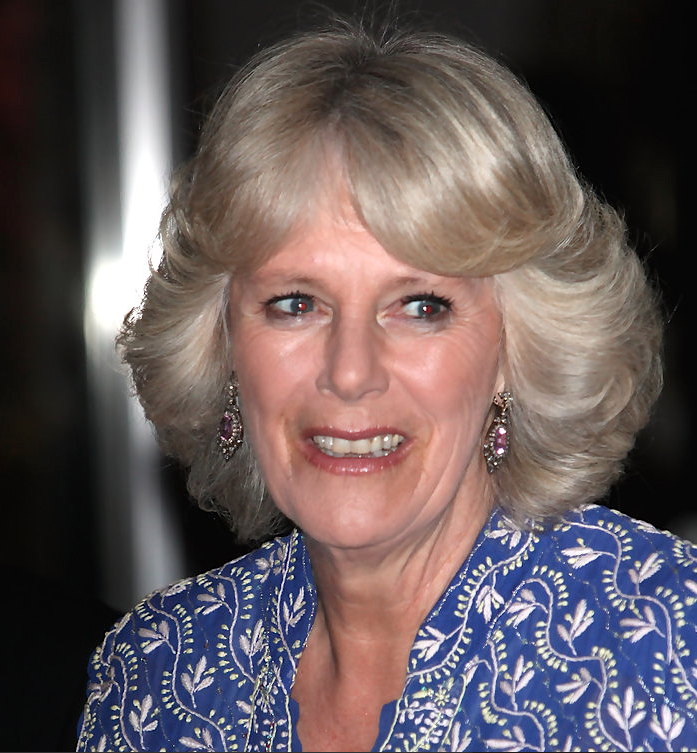 HRH The Duchess Of Cornwall Wearing The Pink Topaz And
