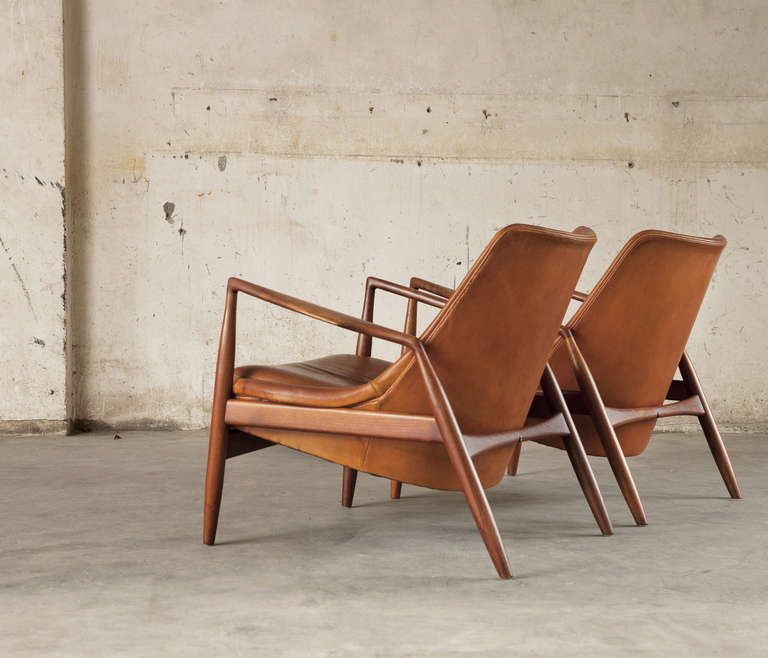 Pair Of 2 'seal' Lounge Chairs By Ib Kofod Larsen In Original Cognac Leather image 4