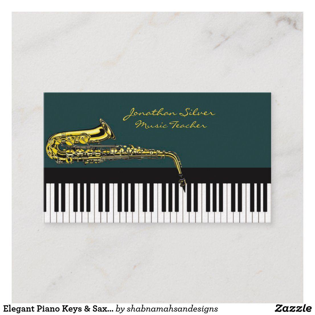 Elegant Piano Keys Saxophone Music Teacher Business Card Zazzle Com In 2021 Teacher Business Cards Music Teacher Saxophone Music