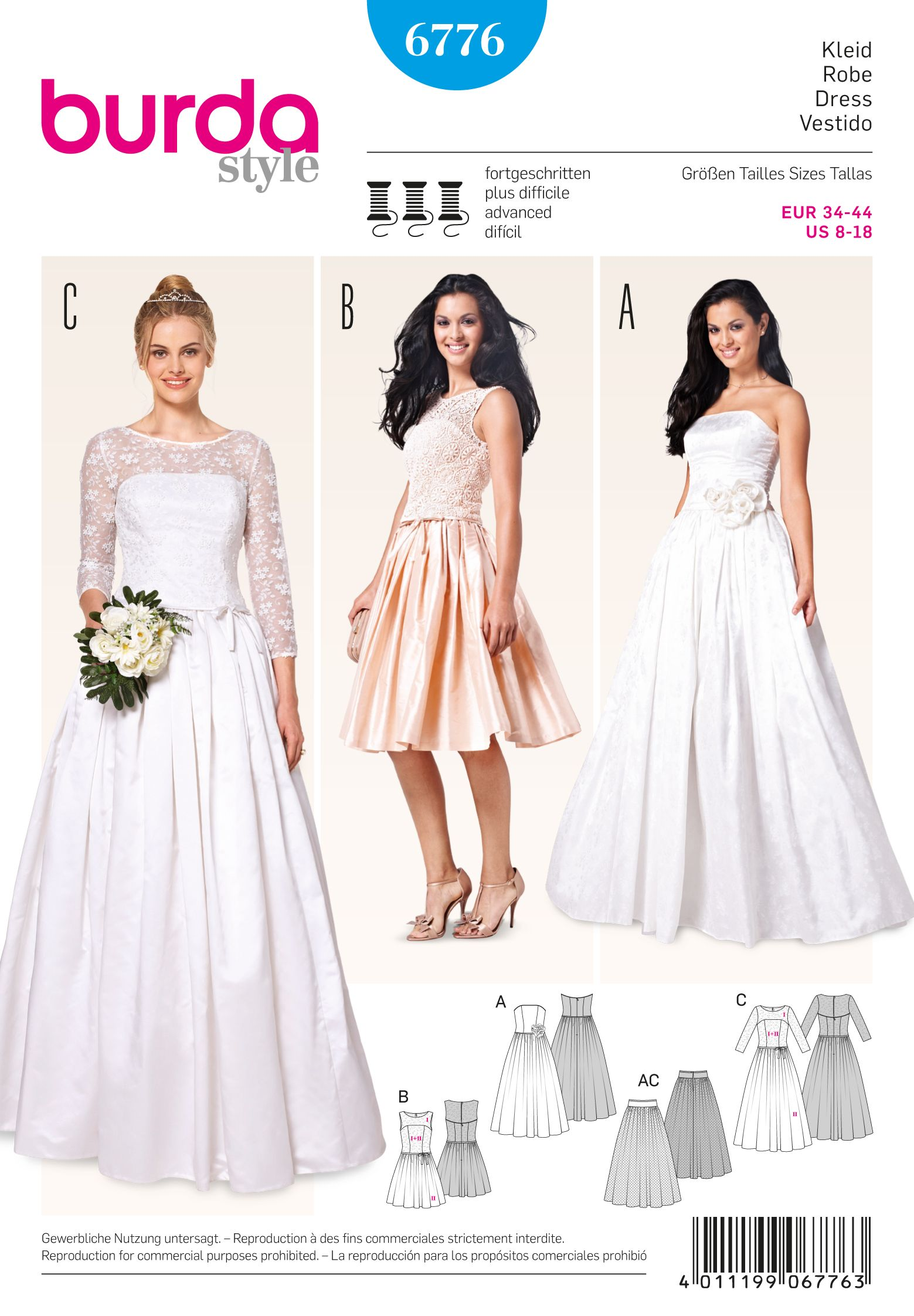 Burda 6776 Burda Style Evening & Bridal Wear | Lieferung, Brautkleid ...