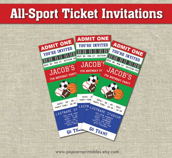 allstar sports ticket invitations printables by popcornprintables
