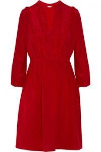 Miu Miu  Ruffled silk crepe de chine dress