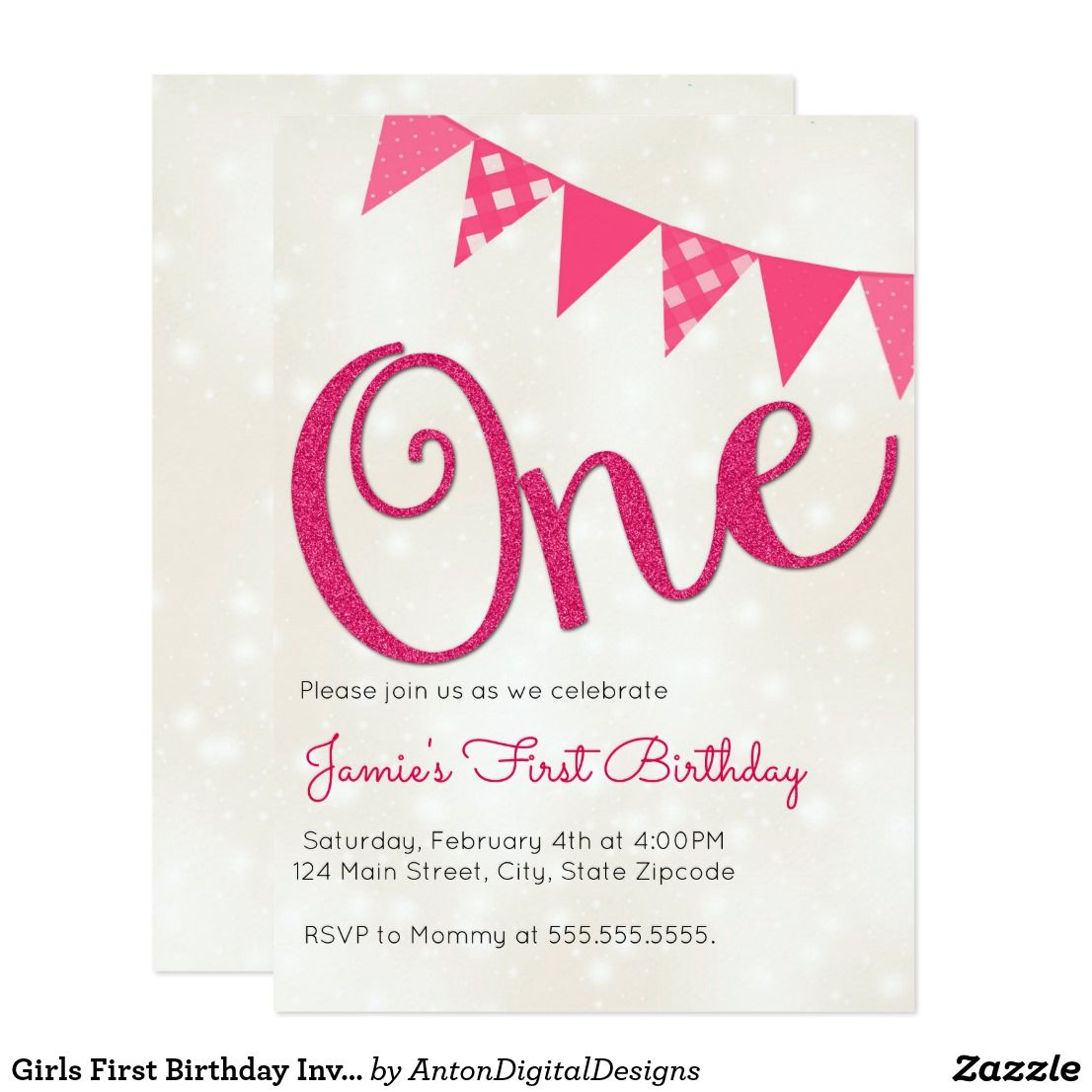 Girls First Birthday Invitation | Party invitations and Birthdays