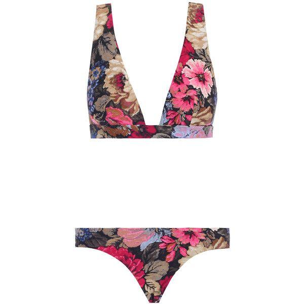 Zimmermann Trinity Wide Plunge Bikini ($210) ❤ liked on Polyvore featuring swimwear, bikinis, bikini, summer, swim, zimmermann, zimmermann bikini, swimming bikini, lycra swimwear and floral bikini swimwear